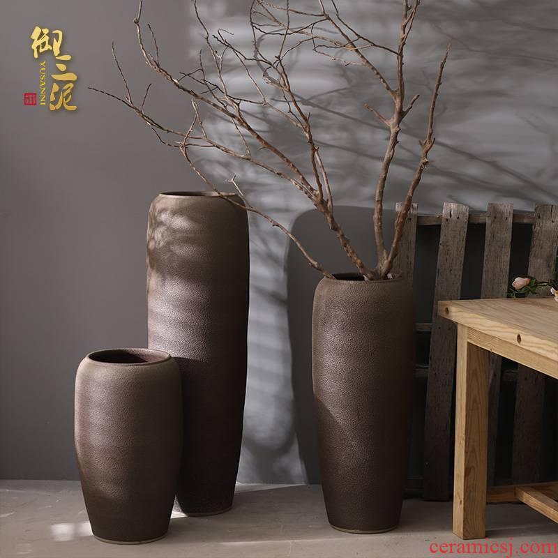 Retro jingdezhen ceramic vase of large modern flower arrangement sitting room place coarse pottery large suit the dried flower