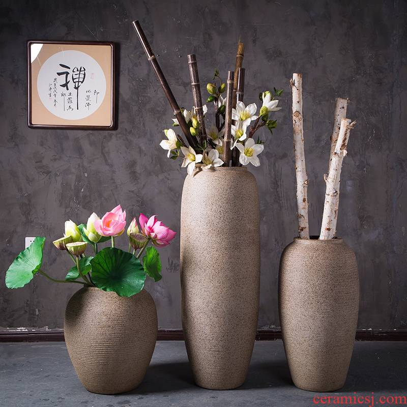 Jingdezhen modern landing big vases, ceramic flower pot courtyard garden pottery urn furnishing articles contracted sitting room adornment