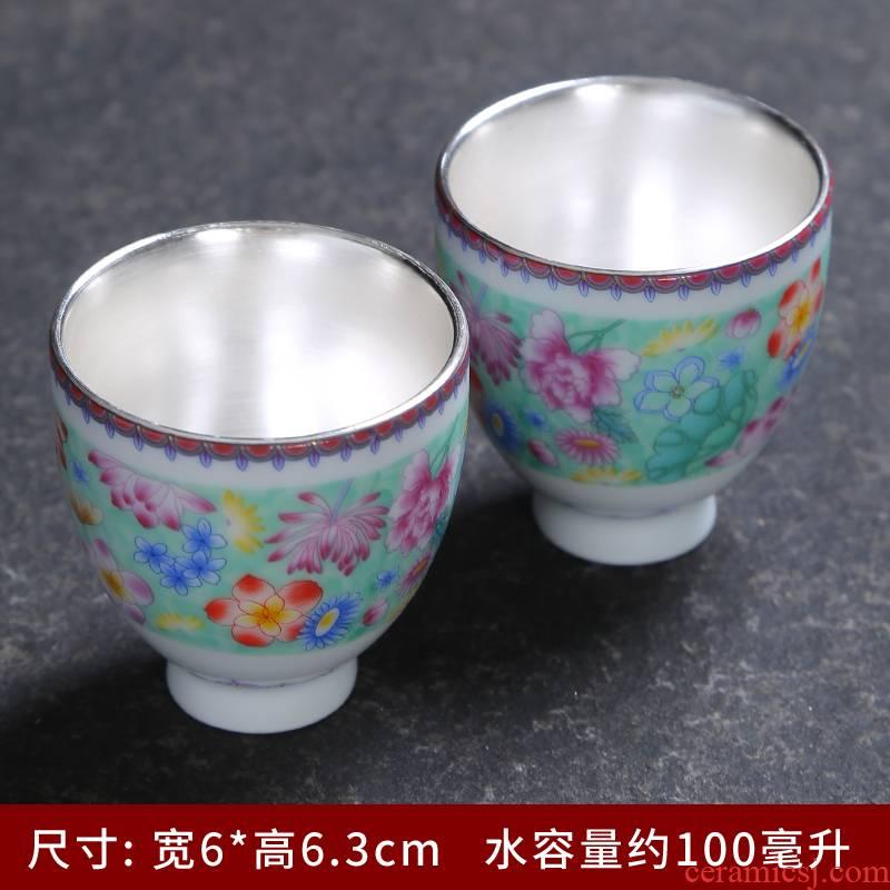 Grilled ceramic imitation enamel see colour flower kung fu tea cup large master cup, single individual cup tea tea cups of tea