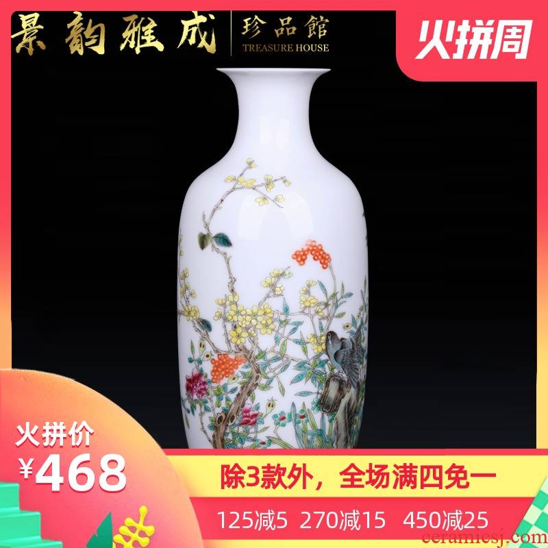 Jingdezhen ceramic hand - made powder enamel vase place to live in the sitting room of the new Chinese style flower arranging porcelain decorative arts and crafts
