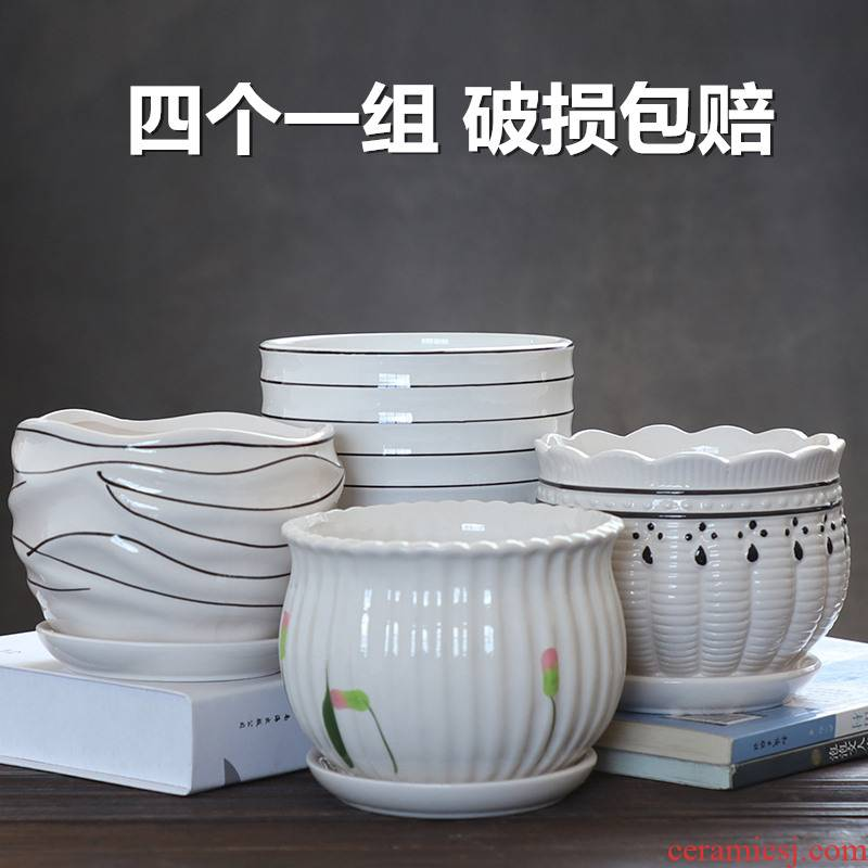 Flowerpot ceramics with tray was special offer a clearance of the creative move contracted white large wholesale Flowerpot more than other meat