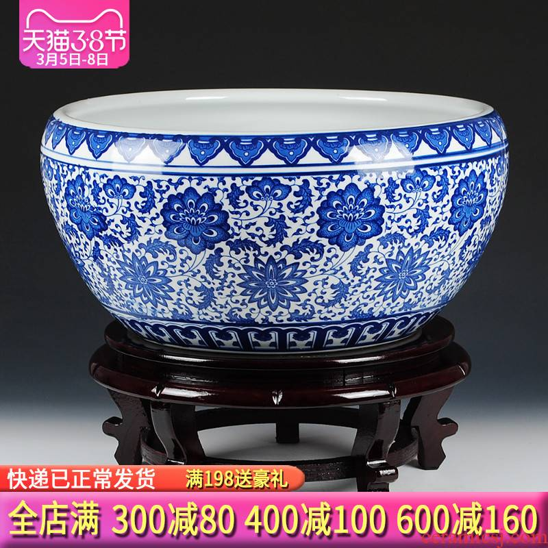 Blue and white porcelain of jingdezhen ceramics shallow daikin tank cylinder water lily tortoise refers to flower pot furnishing articles oversized