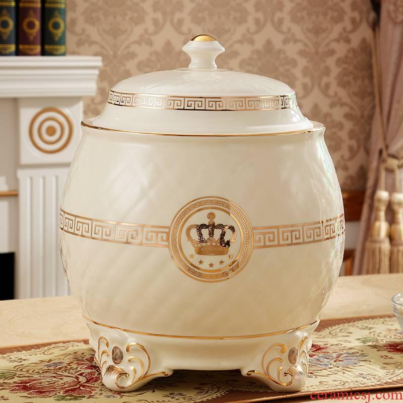 Davao European ceramic barrel has a new home kitchen supplies ricer box seal moisture meters storage bins 10 kg/20 jins