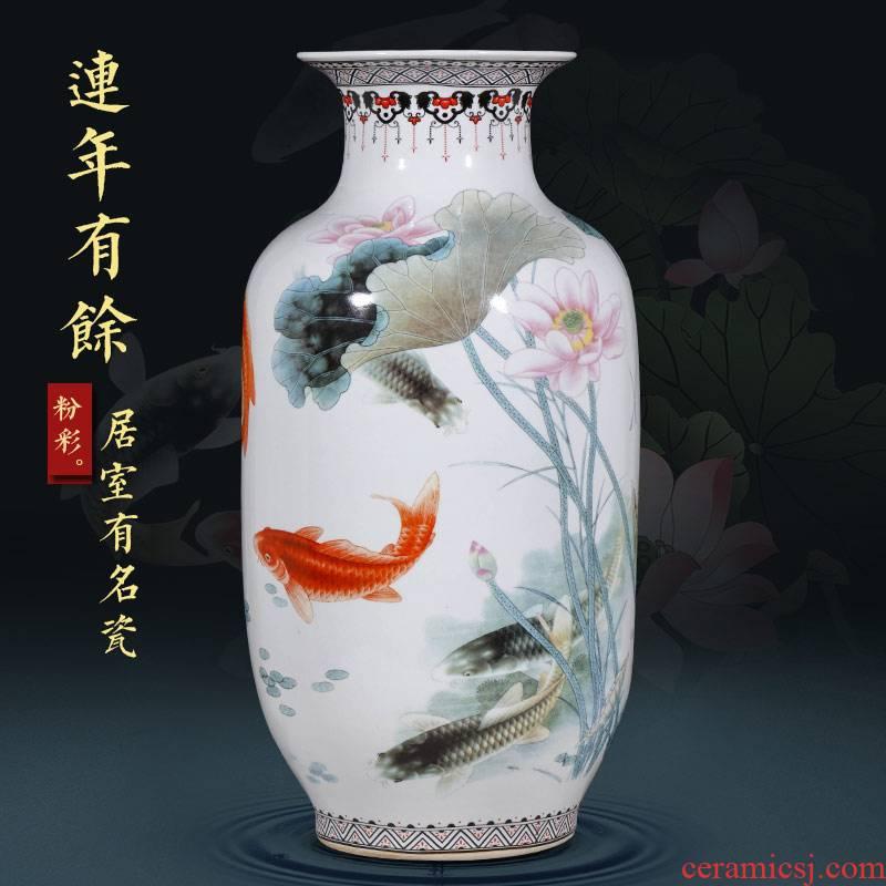 Jingdezhen ceramics powder enamel of large vases, flower arrangement home TV ark, adornment is placed large living room