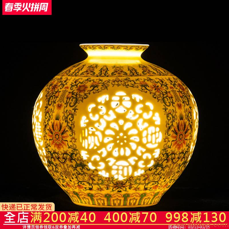 Jingdezhen ceramics vase pomegranate furnishing articles blue and white porcelain bottle hollow out rich ancient frame the sitting room of Chinese style household ornaments