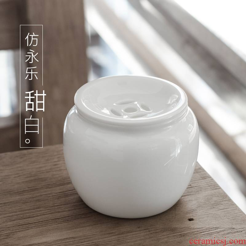 Public remit sweet white ceramic building water jar with cover small tea wash to the mini dross barrels of Japanese kung fu tea accessories