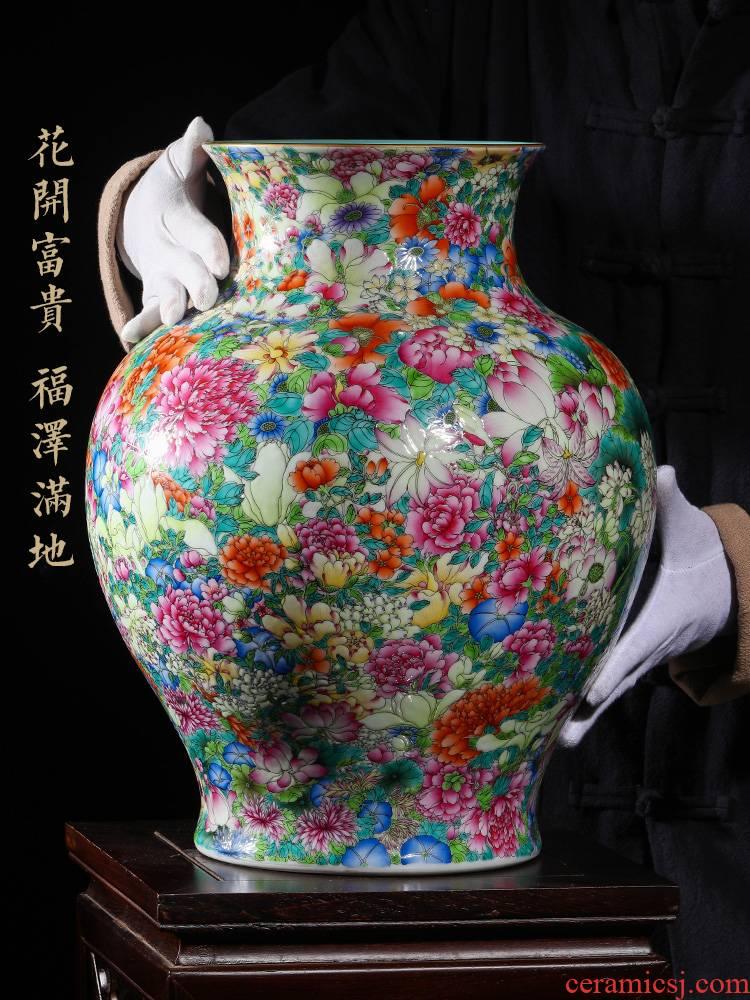 Archaize of jingdezhen ceramics craft vase collection furnishing articles qianlong high - grade colored enamel paint flower vase