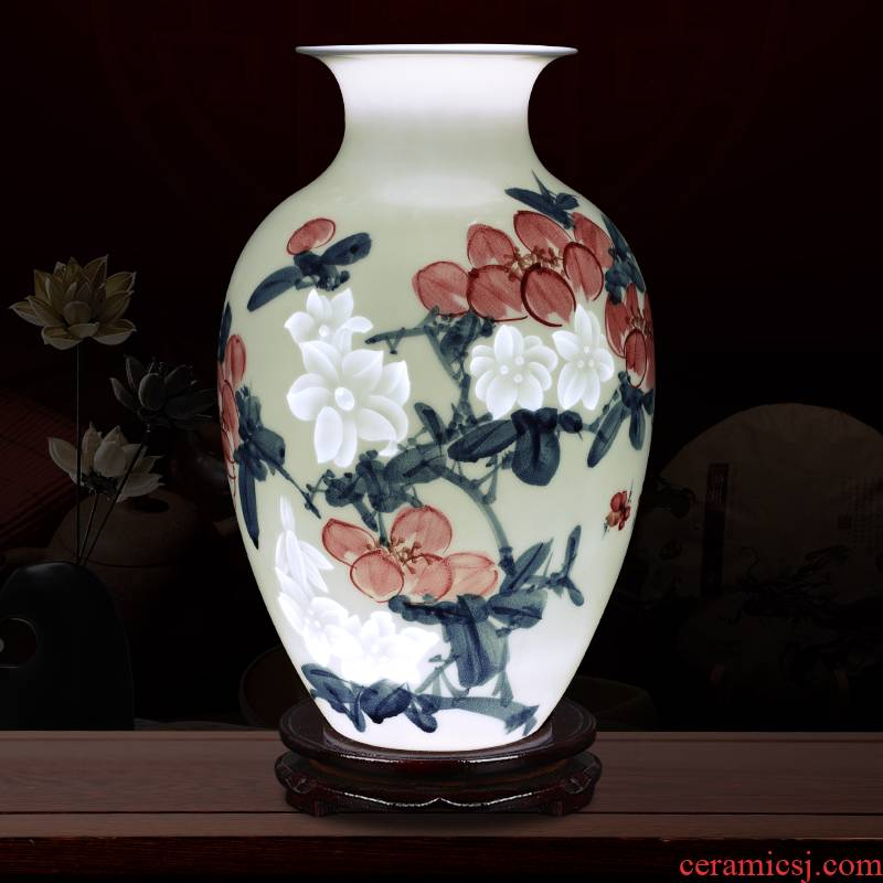 Creative thin foetus and exquisite porcelain jingdezhen ceramics wealth vase furnishing articles knife clay flower arranging hand - made ornaments