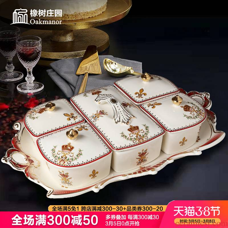 Tang 's estate of new Chinese style living room fruit bowl, compote household ceramics European - style key-2 luxury skyscrapers snack plate