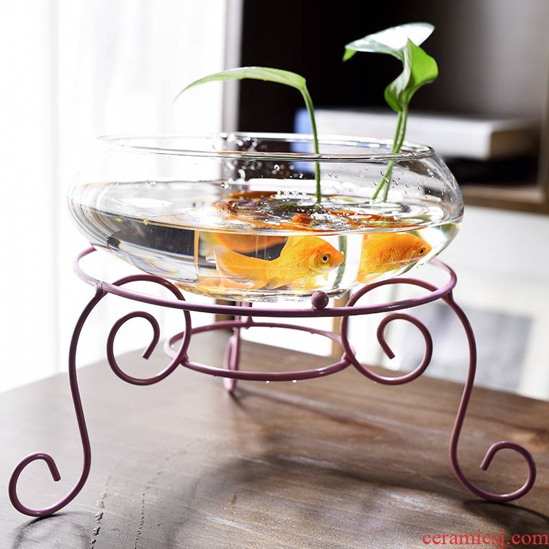 Transparent glass copper grass flower pot daffodil water lily bowl lotus non - porous ceramics special offer a clearance hydroponic large European style