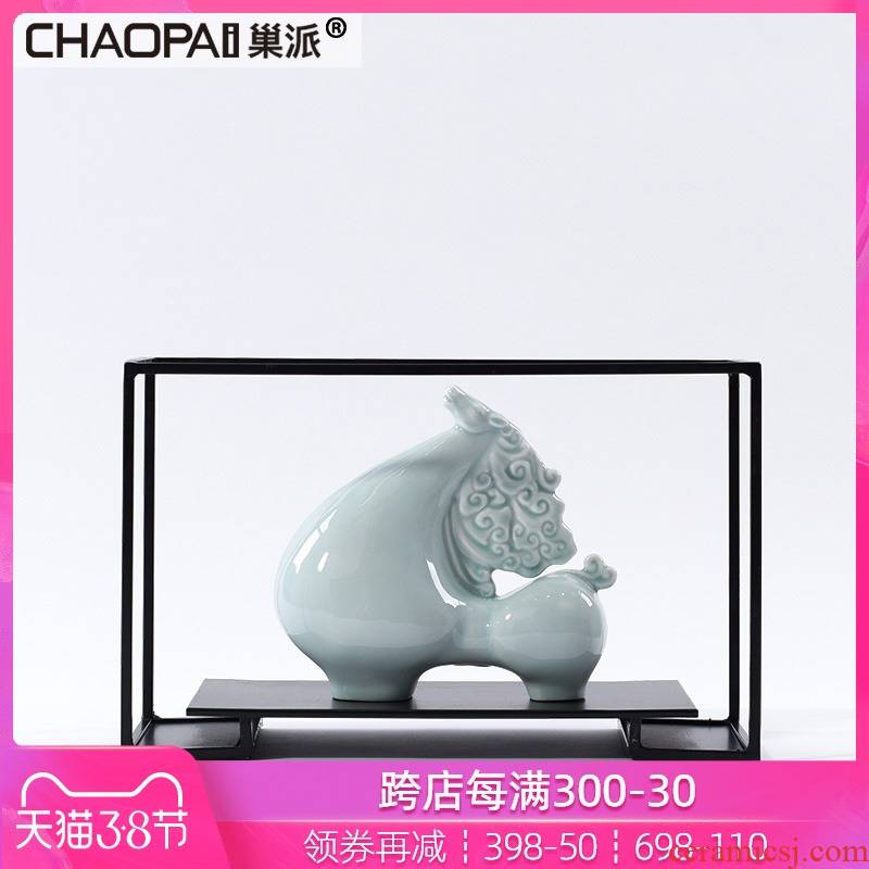 Rich ceramic furnishing articles immediately the new Chinese zen floor reception hall wine sitting room porch soft decoration