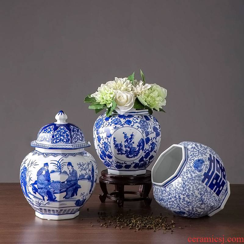 Blue and white porcelain jar with cover Chinese antique vases, flower arrangement sitting room porch decorate household ceramics furnishing articles storage tank