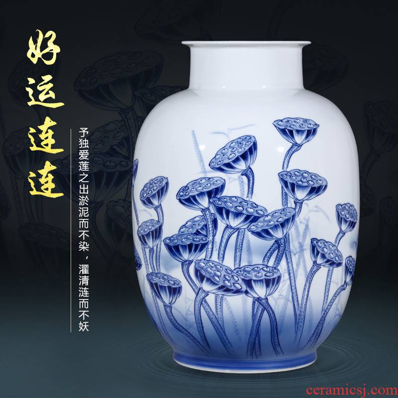 Jingdezhen ceramics by hand draw blue and white porcelain vases, flower arranging Chinese sitting room TV cabinet office furnishing articles