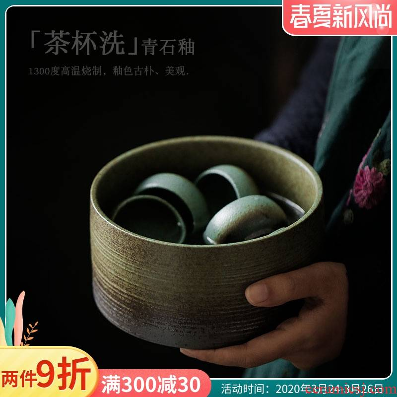 ShangYan retro tea to wash to the ceramic large writing brush washer wash water, after the Japanese kung fu tea cups antique tea accessories