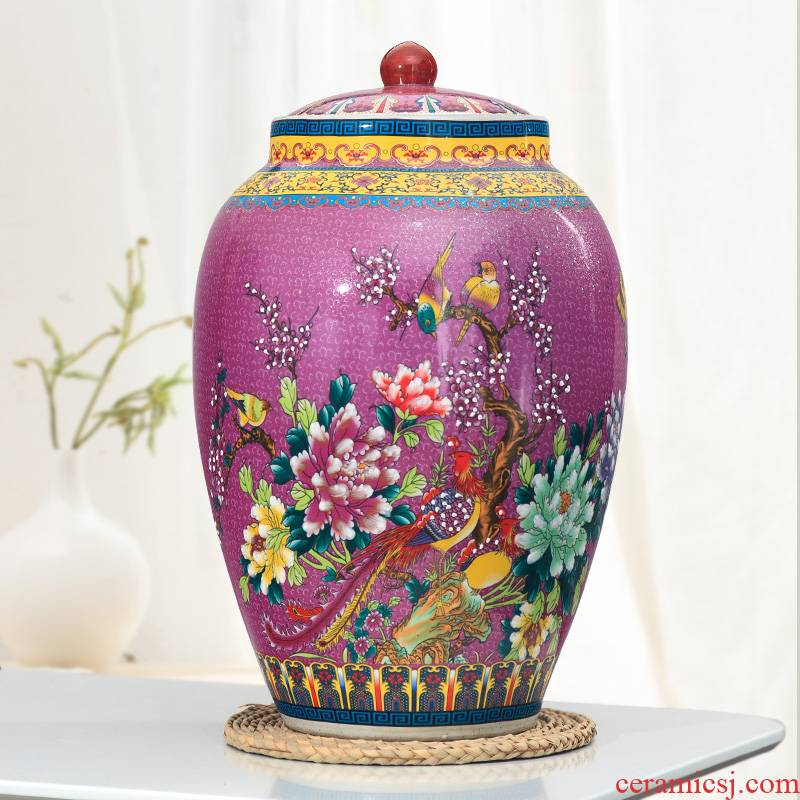 Jingdezhen ceramic ricer box moistureproof cylinder 30 jins 50 kg pack tank rice storage tank with cover household porcelain barrel with cover
