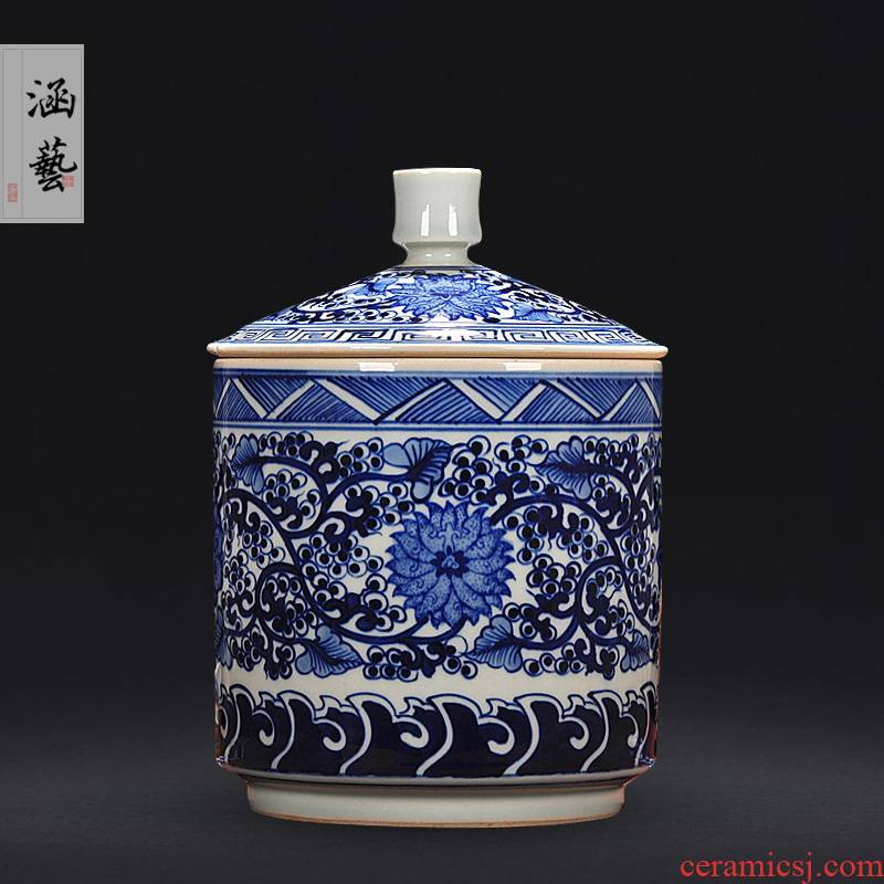 Jingdezhen porcelain vases, antique hand - made porcelain storage tank furnishing articles of modern home decoration fashion caddy fixings
