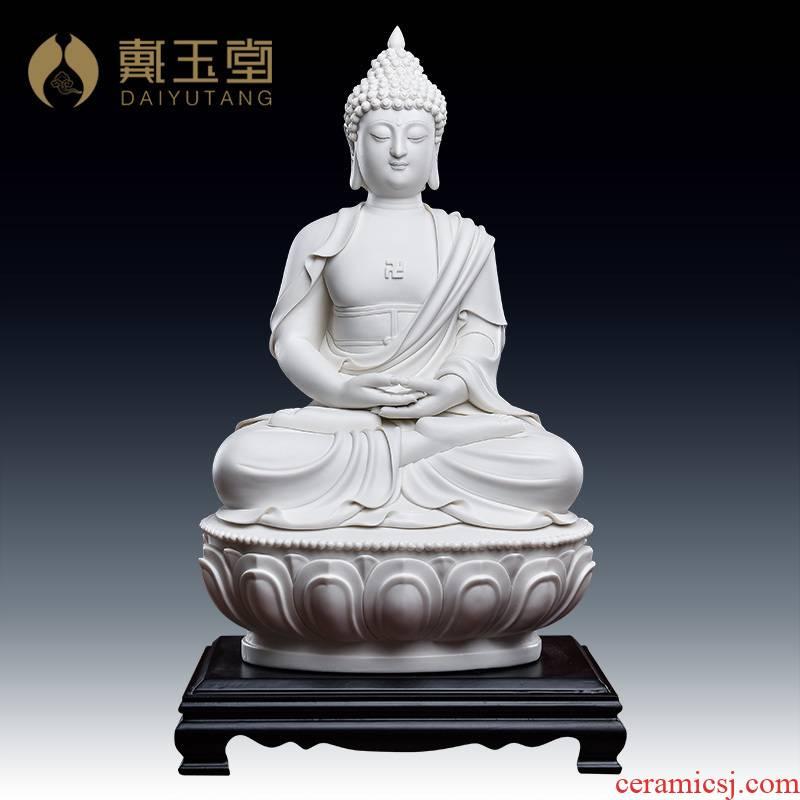 Yutang dai dehua white porcelain Buddha ceramics handicraft furnishing articles jian - pin Lin hua yan three holy D26-38