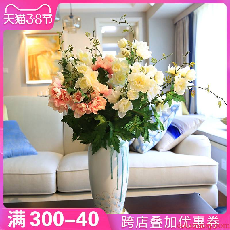 New Chinese style table vase furnishing articles dry flower, flower art TV cabinet ceramic the sitting room porch desktop decoration decoration