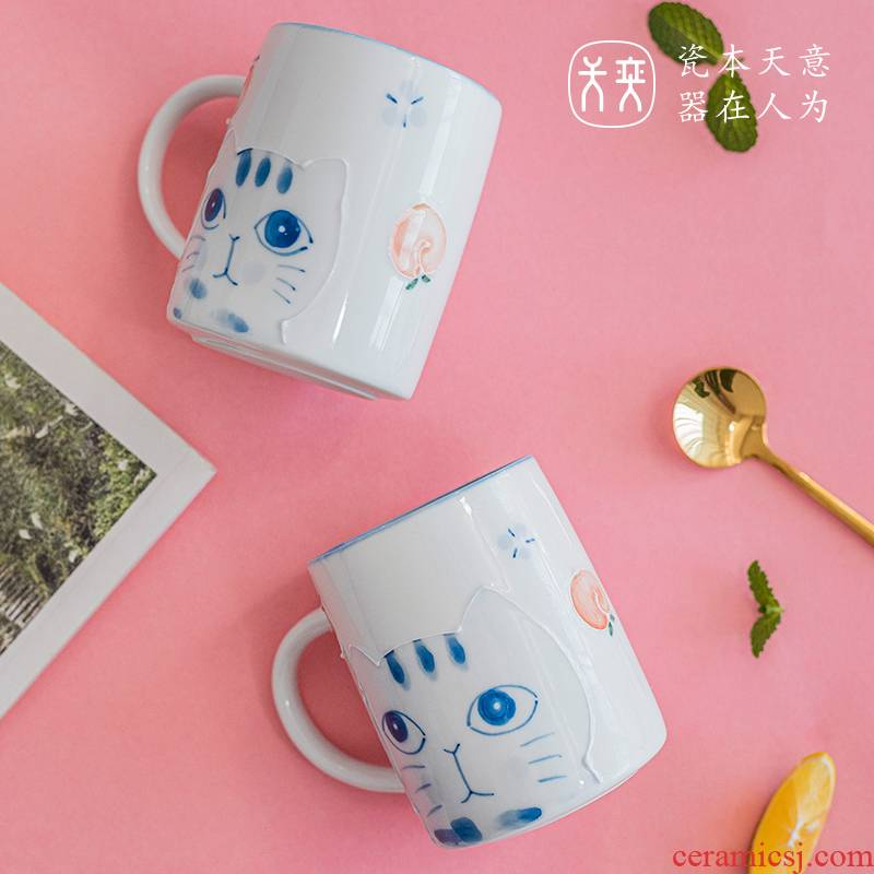 The Cat cup days yi jingdezhen checking ceramic keller of coffee cup of milk for breakfast cup express girls heart