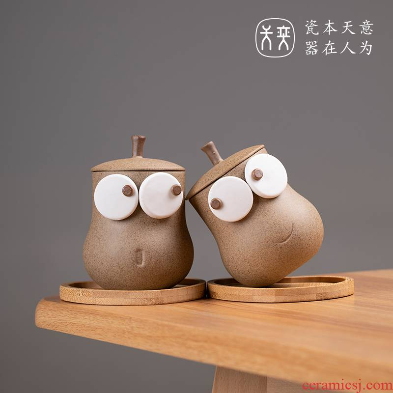 Never points the pear CPU to send a cups of coffee mugs creative ceramic cup cup gift lovely move model