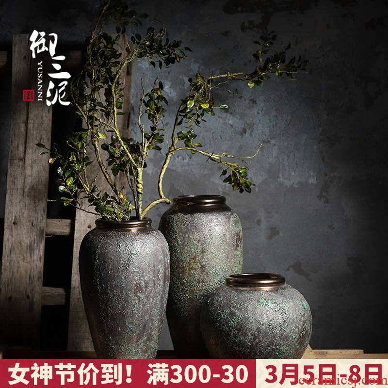 Jingdezhen coarse some ceramic pot pottery restoring ancient ways all over the sky star, dried flower vases, small pure and fresh and vase flower arranging furnishing articles sitting room