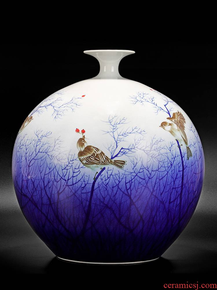 Jingdezhen ceramic vase sitting room place large hand draw archaize pomegranates of blue and white porcelain Chinese office decoration