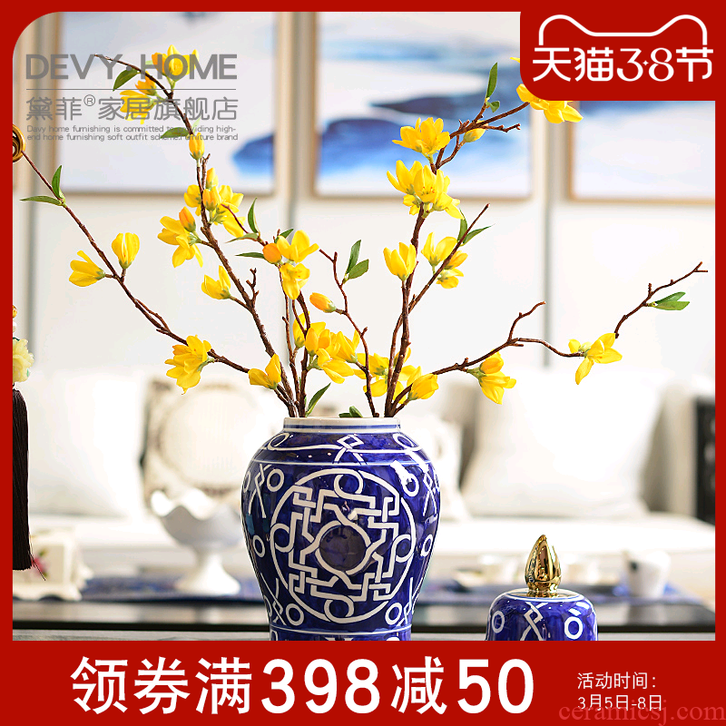New Chinese style classical creative TV ark, jingdezhen ceramic vase furnishing articles restoring ancient ways the sitting room porch vase storage tank