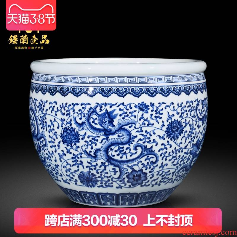 Jingdezhen blue and white dragon ceramics imitation the qing qianlong feng shui study of new Chinese style decoration painting and calligraphy cylinder aquarium furnishing articles
