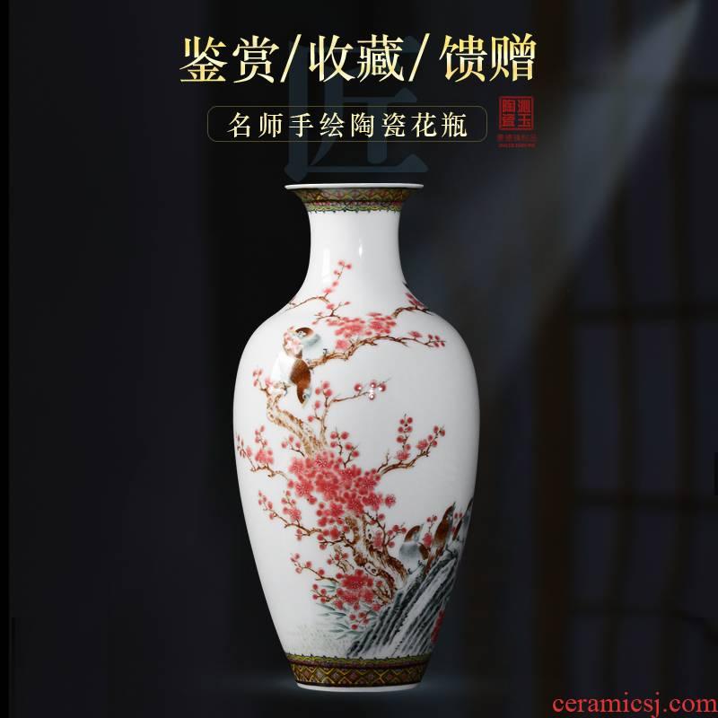 Jingdezhen ceramic vase sitting room place hand colored enamel rich ancient frame porch decoration decoration
