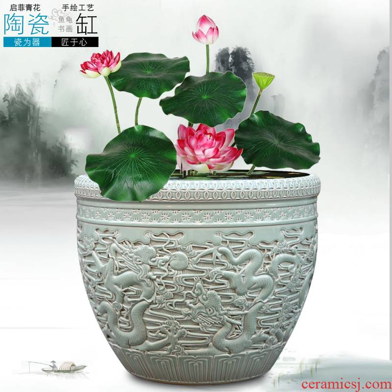 Jingdezhen ceramic aquarium pet gold fish tank water lily basin bowl lotus lotus cylinder cylinder tortoise tank sitting room big furnishing articles