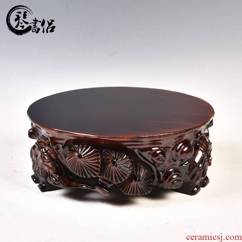 Happens the thickening of completely real wood, carved stone furnishing articles base tank can be excavated round vase bonsai stone bracket