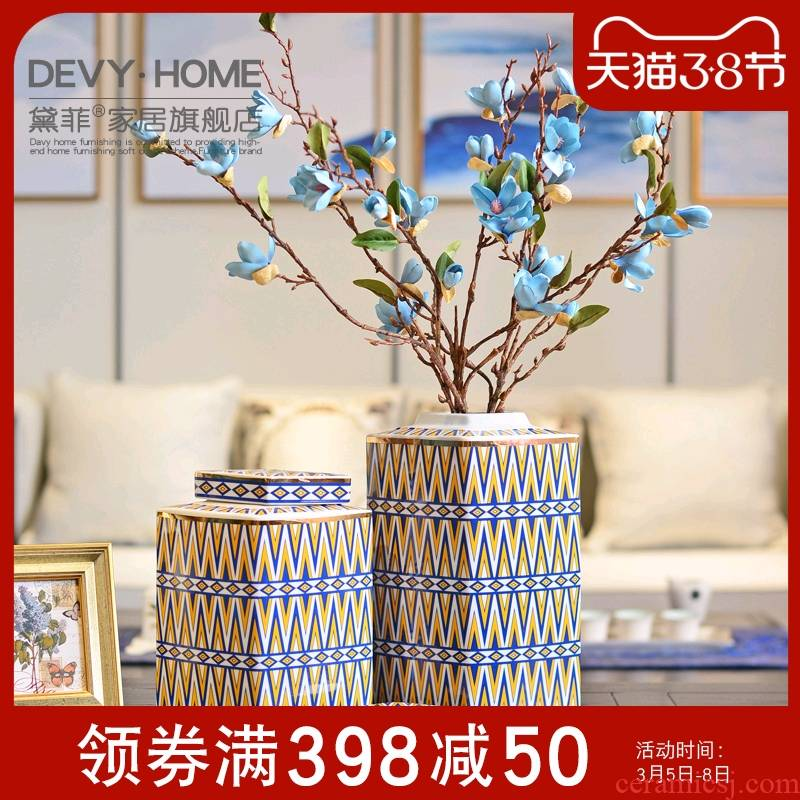 Creative furnishing articles of the new Chinese style household act the role ofing is tasted ceramic vases, the sitting room porch floral decorations decoration arts and crafts