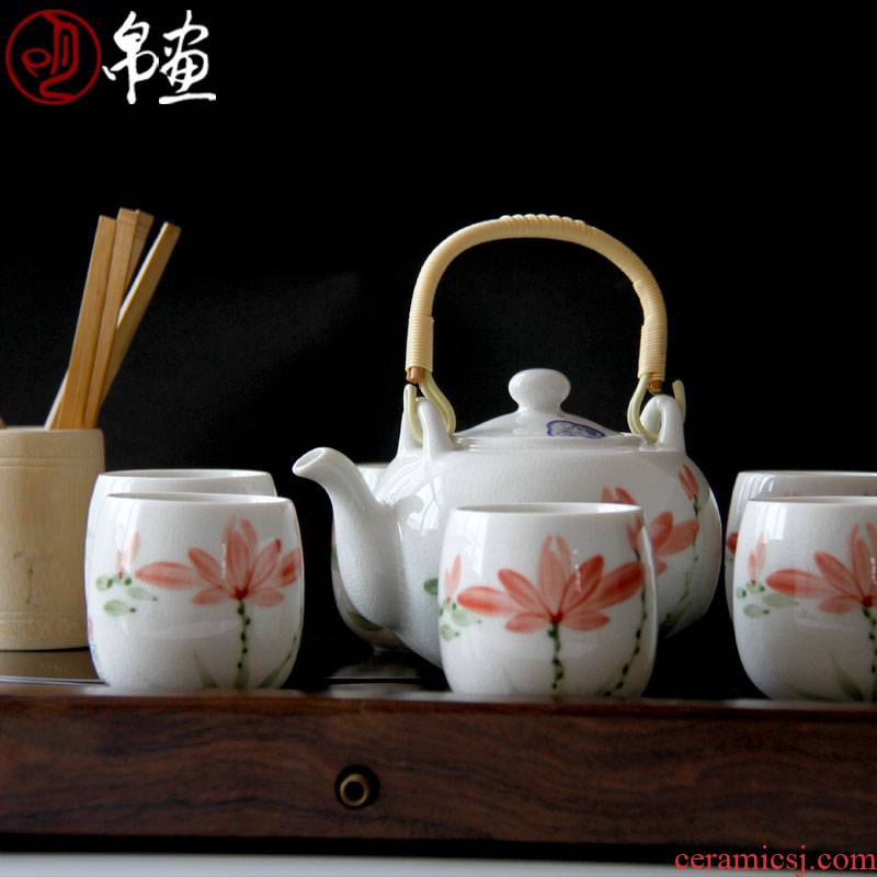 Jingdezhen ceramic tea set the home side the kung fu tea set modern tea pot is suitable for a gift