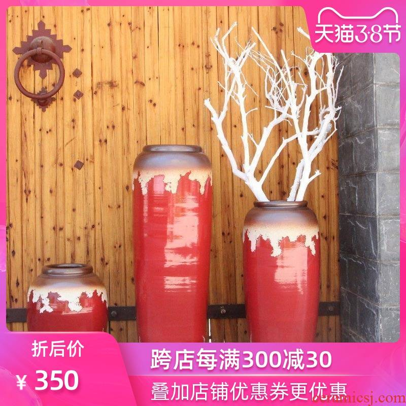 Modern Chinese style example room pottery vases, indoor and is suing water red ceramic cylinder of large ceramic vase vase
