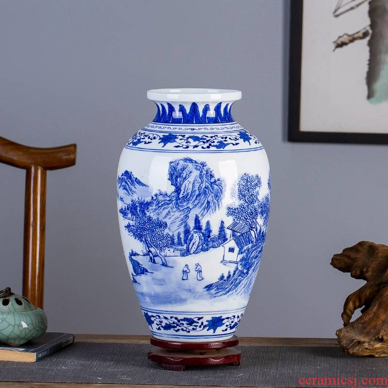 Jingdezhen ceramic porcelain hand - made scenery of blue and white porcelain vases, modern Chinese art flower arranging sitting room adornment is placed