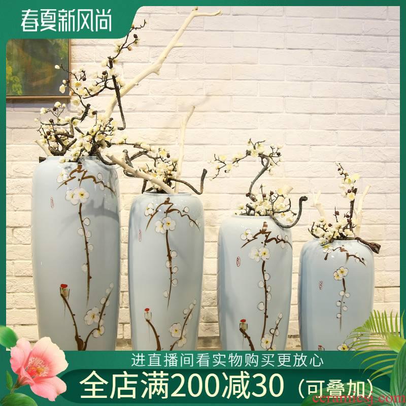 Jingdezhen ceramic vase mall cafe restaurant new Chinese style clothing decorative flower flower implement landing place