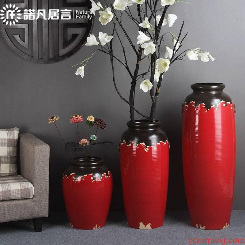 Ceramic vase big sitting room place flower arranging Ceramic floor dry flower hotel villa simple decoration fashion red