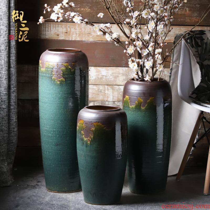 Ceramic vases, flower arrangement sitting room place I and contracted retro dry flower of large European jingdezhen porcelain flowerpot