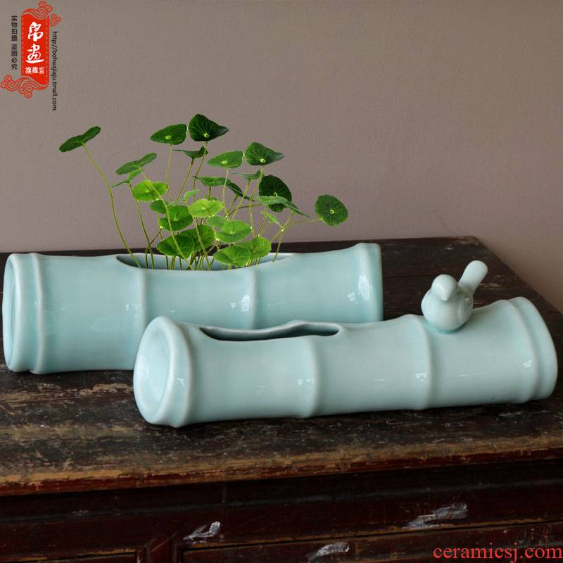 Jingdezhen ceramic checking shadow celadon big bamboo dried flower vases, flower implement desktop decoration porcelain decoration process
