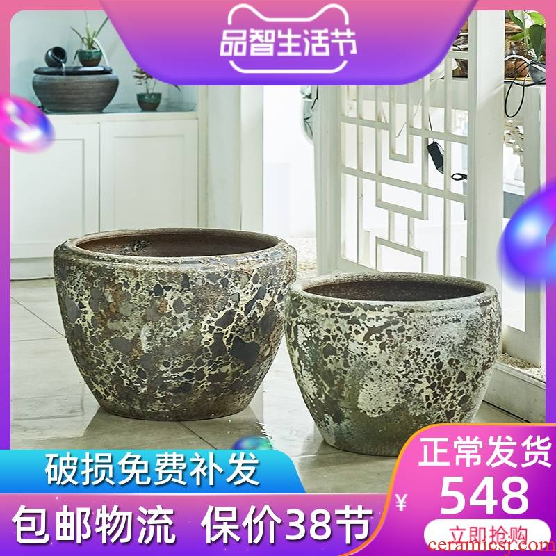 Jingdezhen ceramic VAT coarse pottery circular tank to restore ancient ways of large tank courtyard garden water lily painting and cylinder
