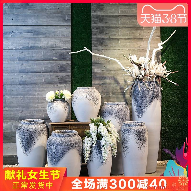 Jingdezhen coarse clay ceramic pottery vases, flower arranging is restoring ancient ways ceramic home sitting room decoration decoration floor furnishing articles