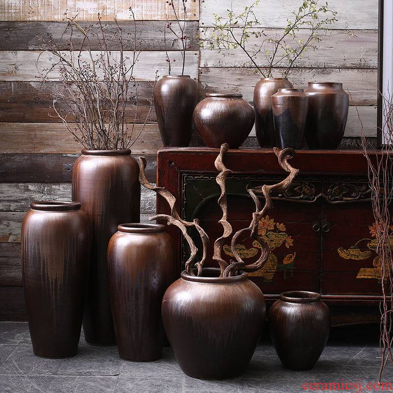 Jingdezhen ceramic sitting room of large flower arranging lucky bamboo vase porch place Chinese hydroponic pot of ancient pottery