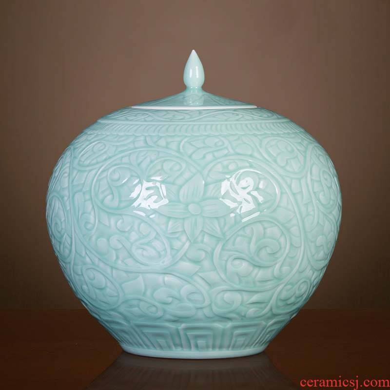 Jingdezhen ceramic antique vase blue glaze carving pomegranate bottles of classical Chinese style living room office furnishing articles ornament