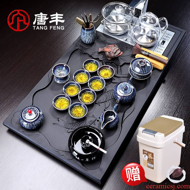 Tang Fengyao become kung fu tea sets tea tray was home office sharply Shi Dacha ceramic tea machine, electric heating furnace