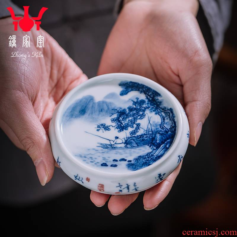 Clock home up rear cover cover supporting jingdezhen blue and white manually maintain landscape coasters lid accessories cup cup mat