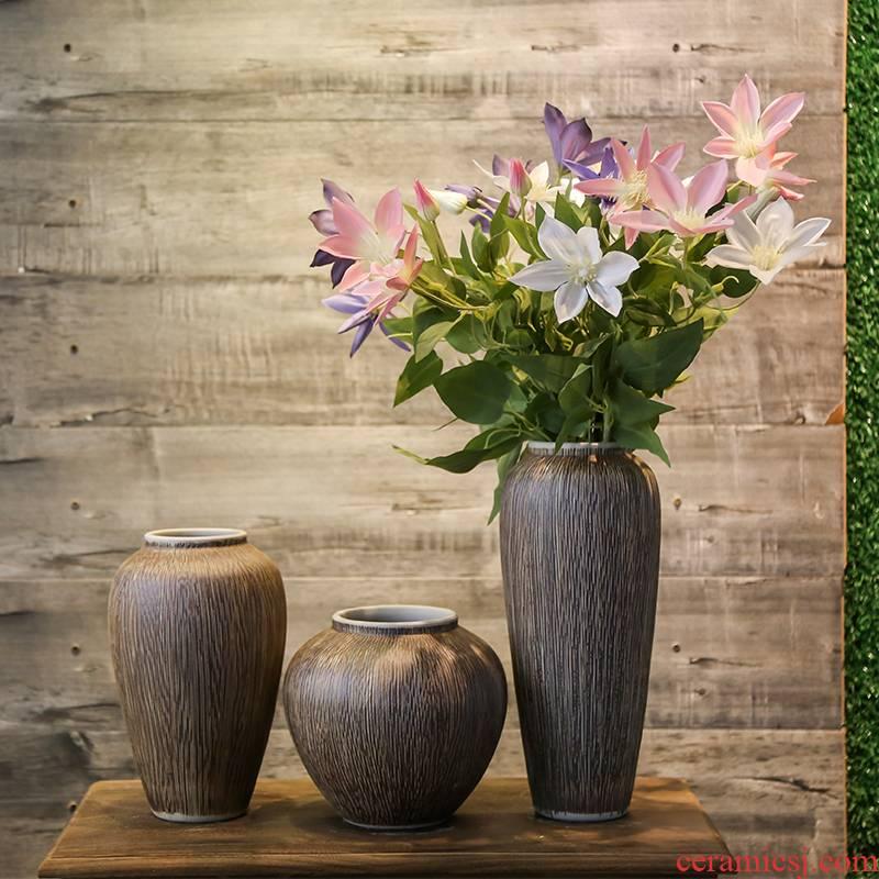 Jingdezhen coarse some ceramic pot vases, flower receptacle household decorative simulation flower, flower art set of living room big furnishing articles