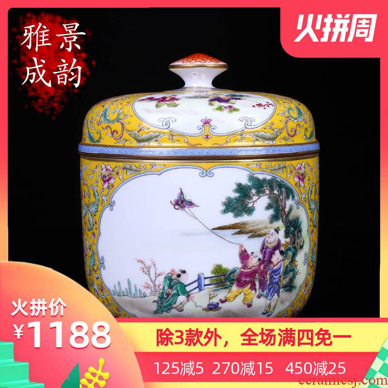 Jingdezhen ceramic hand - made tong qu pu 'er tea caddy fixings seal tank home installed tank storage tank is large