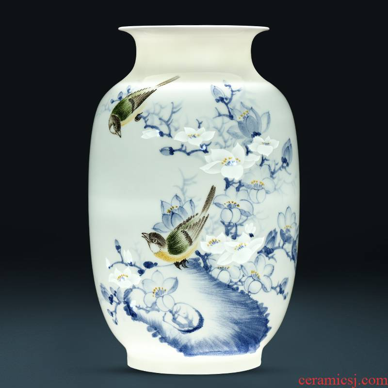 Jingdezhen ceramics famous hand - made thin foetus carving vase furnishing articles sitting room flower arranging Chinese office decoration