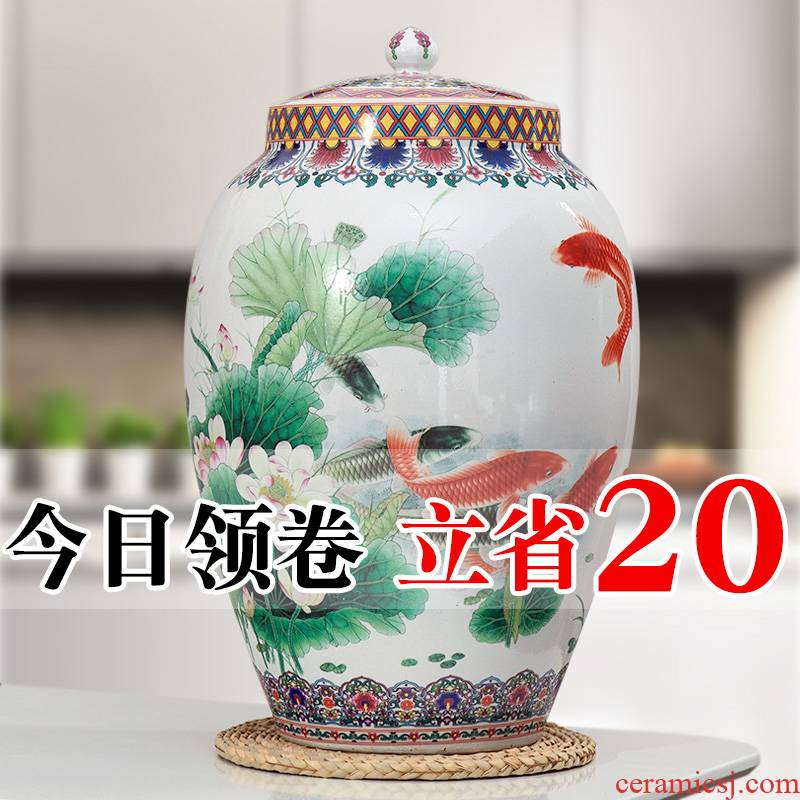Jingdezhen ceramic barrel pack ricer box store meter box 20 jins 30 jins of 50 kg household moistureproof insect - resistant rice jar with cover the bucket