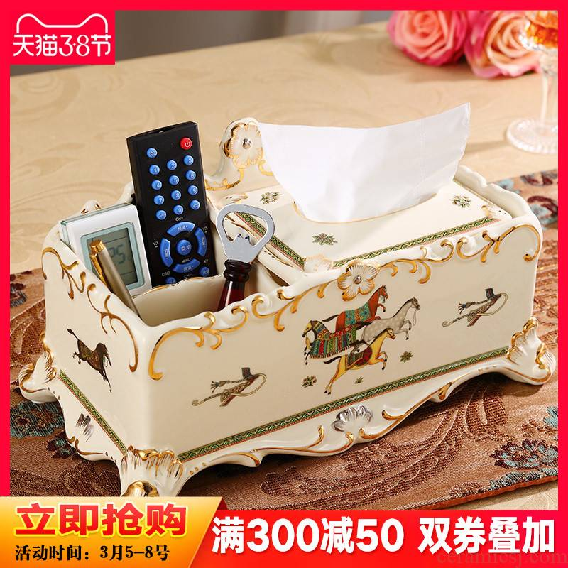 Ceramic tissue box artical multifunctional smoke box luxurious sitting room tea table furnishing articles remote receive a case